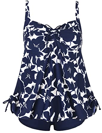9140b861c97d0 Septangle Women's Plus Size Bathing Suits Ruffle Two Piece Floral Print  Bathing Suit (Blue,