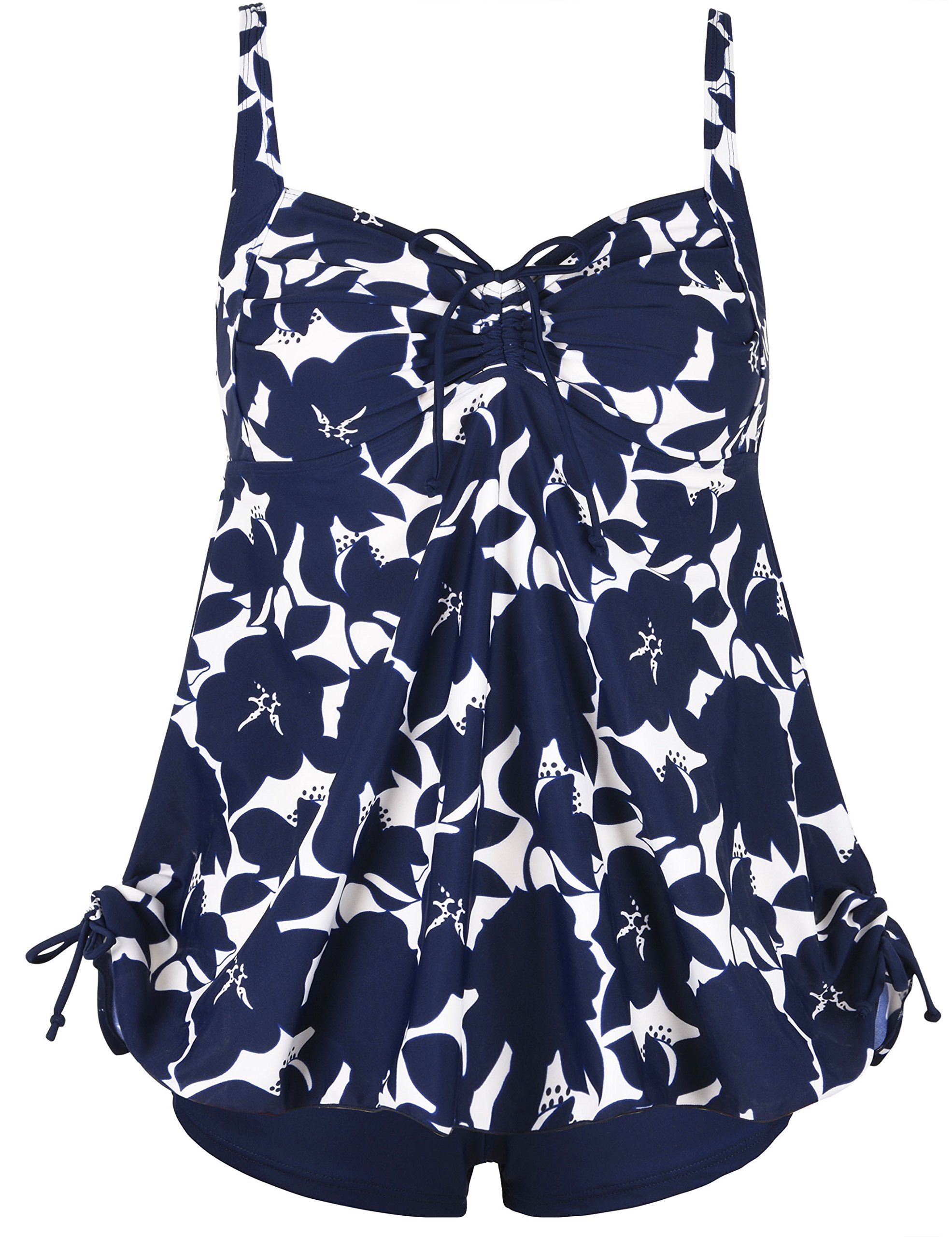 Septangle Women's Plus Size Bathing Suits Ruffle Two Piece Floral Print Tankini (Blue,US 18)
