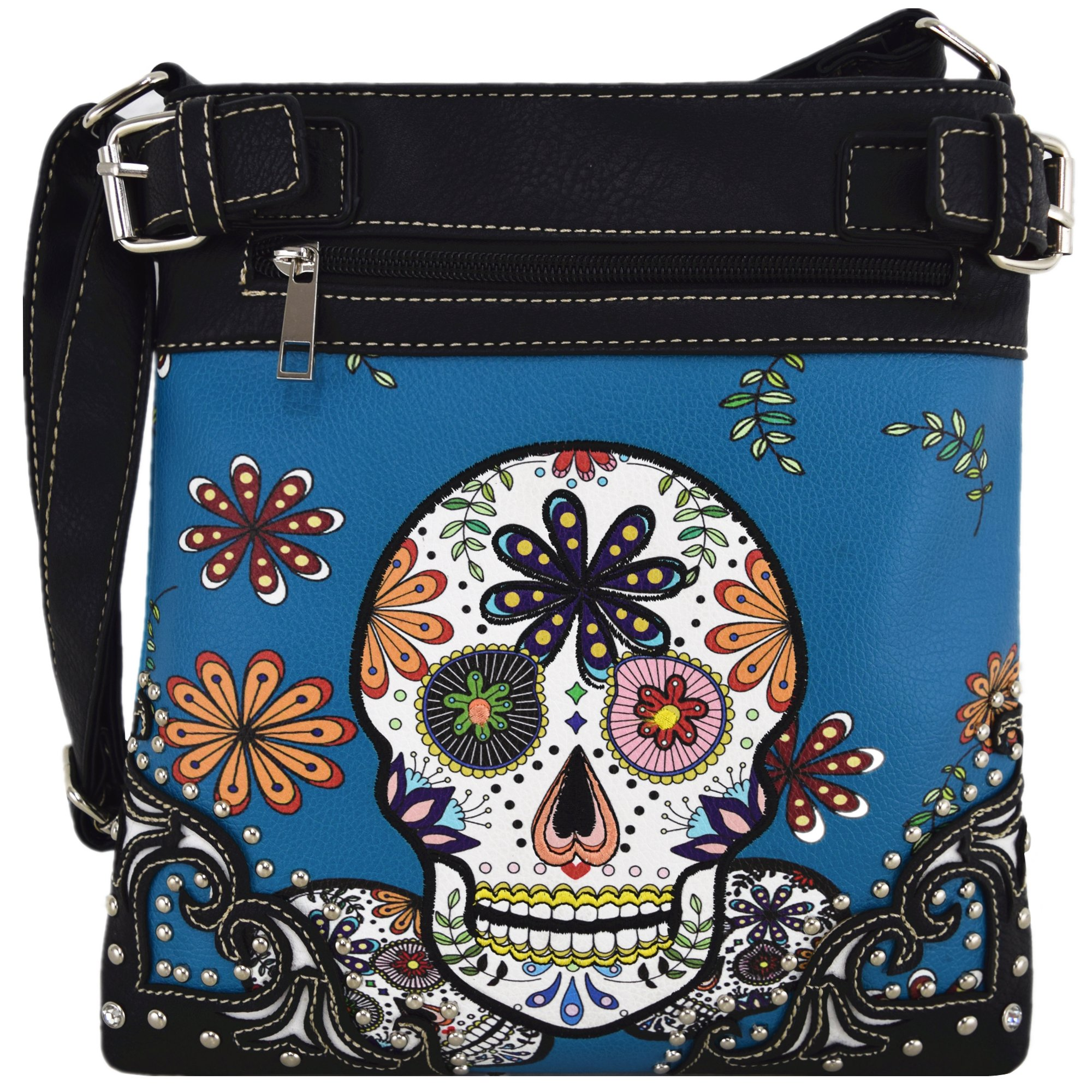 Sugar Skull Day of the Dead Cross Body Handbags Concealed Carry Purses Country Women Single Shoulder Bags (Blue)