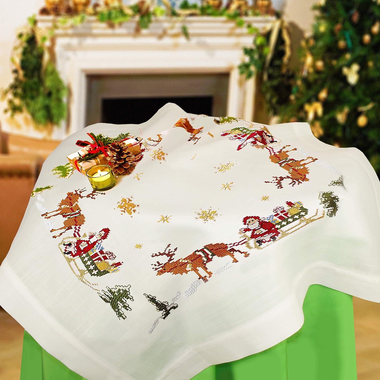 Kamaca dise/ño navide/ño con Pap/á Noel y trineo Kit de punto de cruz para mantel algod/ón, mantel de 80 x 80 cm