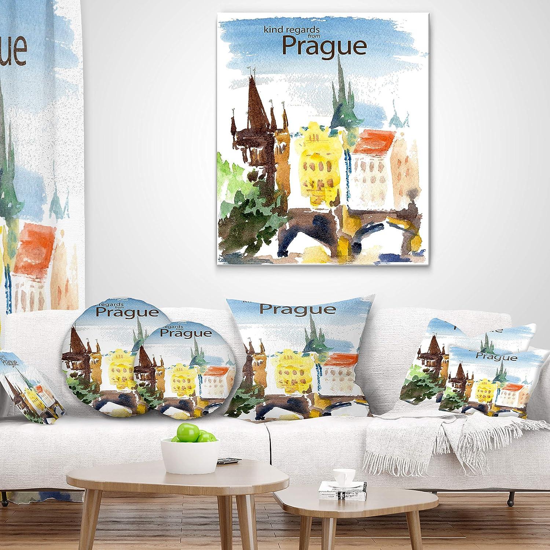 Designart CU7774-26-26 Old Prague Vector Illustration Cityscape Painting Throw Pillow 26 x 26