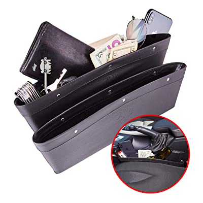 Matuku Car Console Organizer Gap Filler - Seat Gap Filler Car Seat Gap Organizer, Car Accessories Interior with Premium PU Leather, Car Pocket Organizer - Set of 2 for Phone Money Cards Keys Remote: Automotive