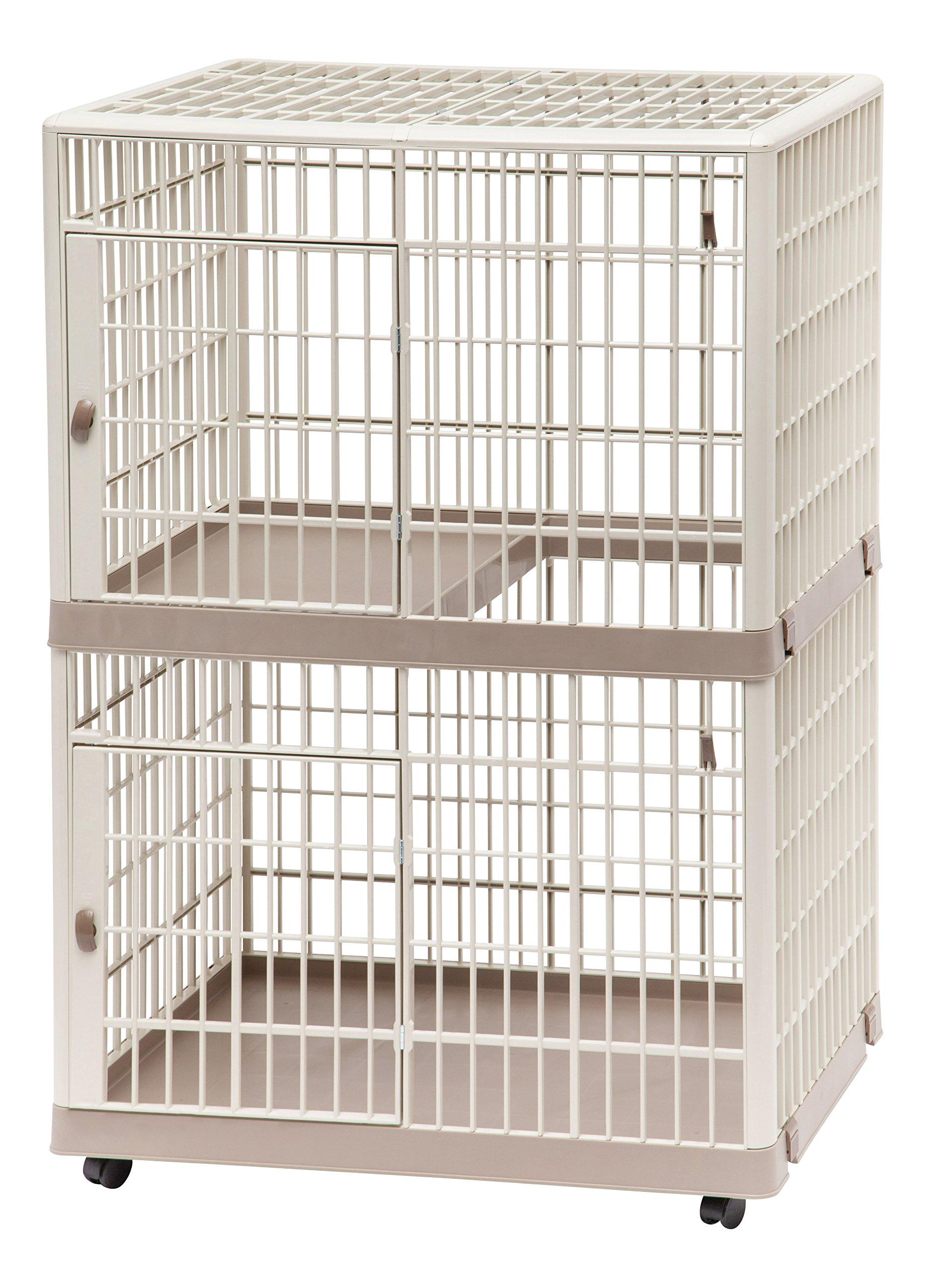 IRIS 2-Tier Cat Cage, Tan