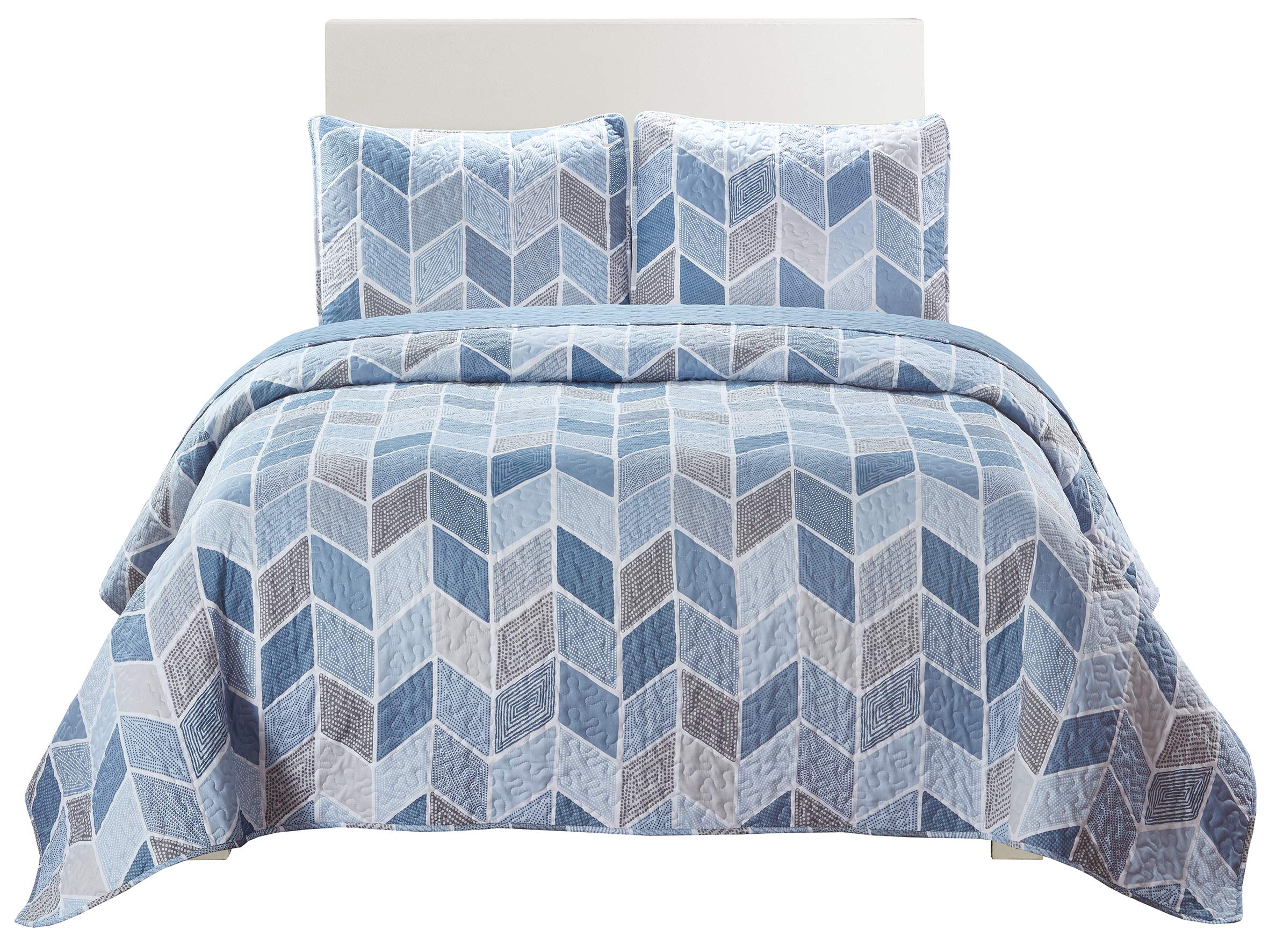 SLPR Heather 3-Piece Lightweight Printed Quilt Set (Queen) | with 2 Shams Pre-Washed All-Season Machine Washable Bedspread Coverlet