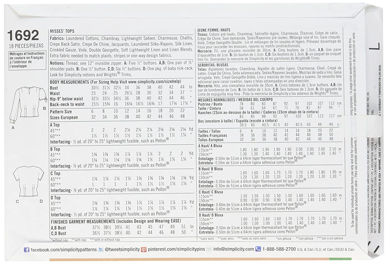 Simplicity Pattern 1692.R5 14-22 Misses\' Retro Tops: Amazon.co.uk ...