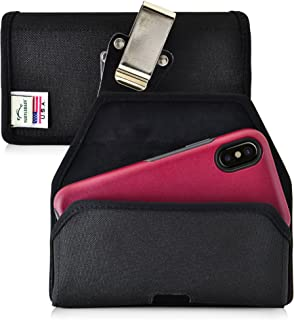 product image for Turtleback Belt Clip Case Made for iPhone X with Otterbox Commuter Symmetry case Black Holster Nylon Pouch with Heavy Duty Rotating Belt Clip Horizontal Made in USA