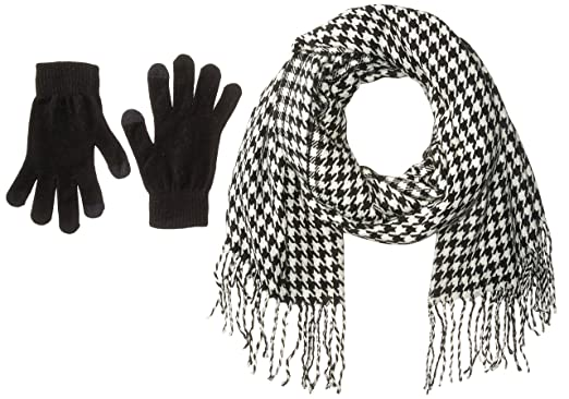92246fb3816 Steve Madden Womens Houndstooth Magic Gloves Set