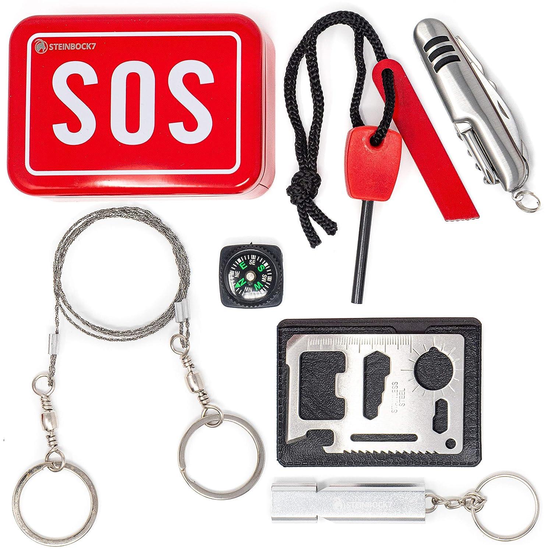 Drahts/äge Feuerstahl Pfeife Kompass und Multitool Metallbox mit Taschenmesser Steinbock7 Survival Kit Bushcraft SOS