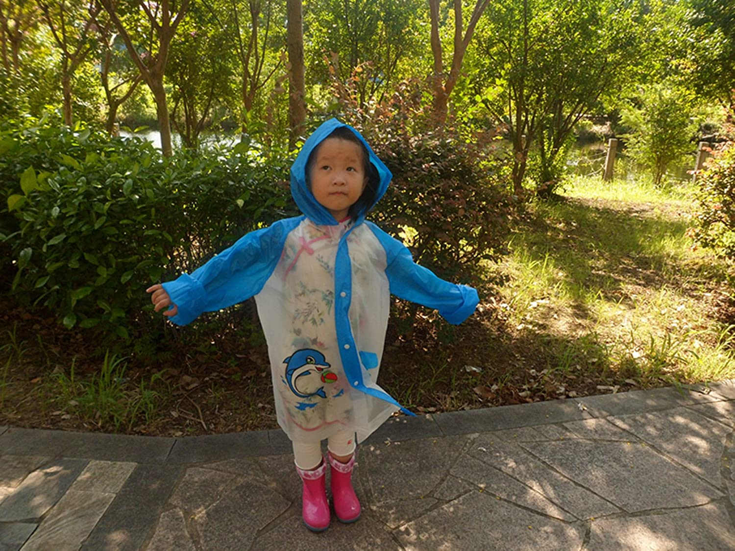 Taiduosheng Kids Hooded Jacket Cover Long Rainwear for Boys Girls /& Toddlers with Colorful Prints Small Pocket Rain Raincoat