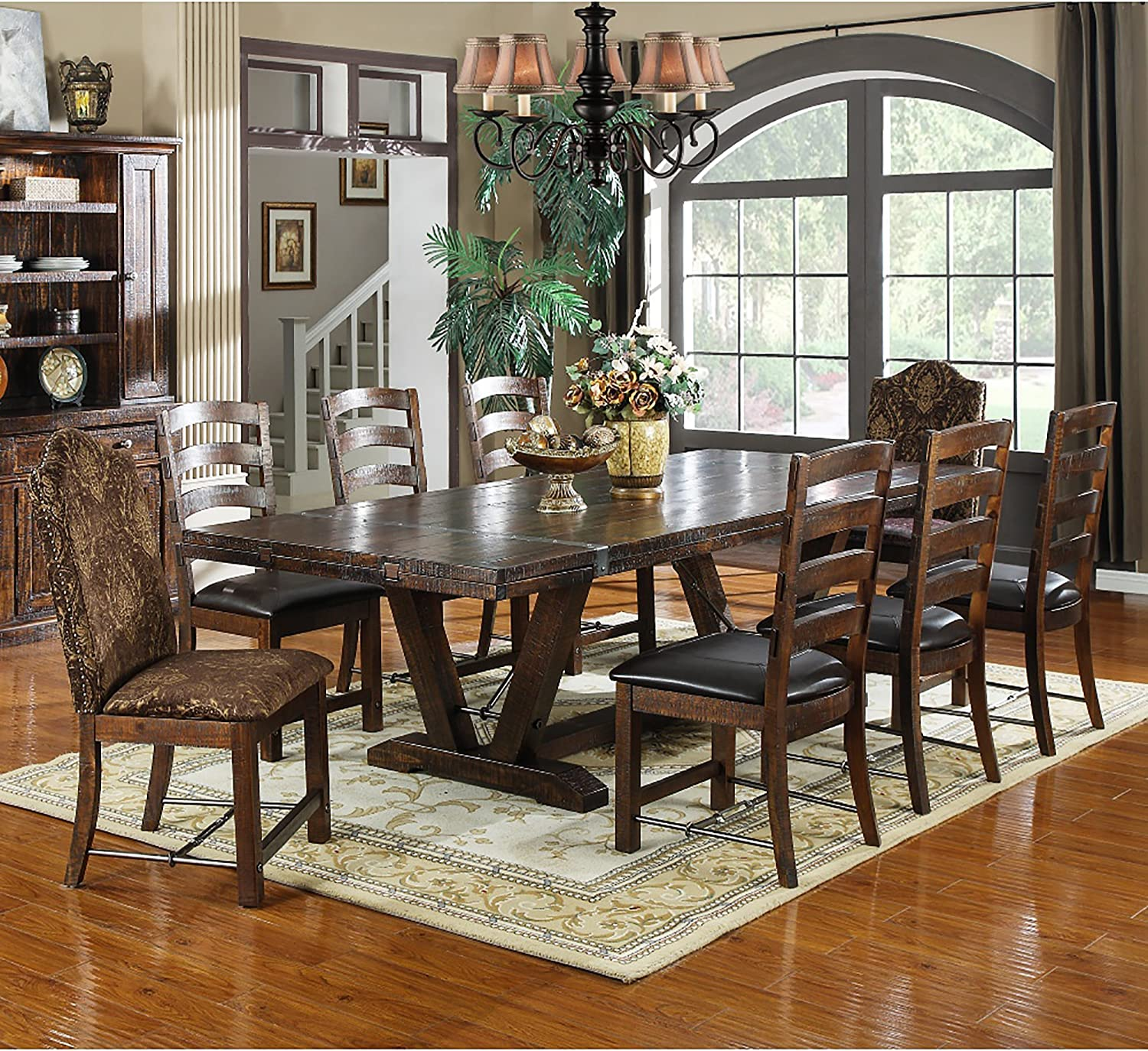 Amazon Com Extra Long Dining Table Of Solid Wood With 2 Extendable Leaves In Country Style For Party Sized Seating Up To 8 People Plus Tables
