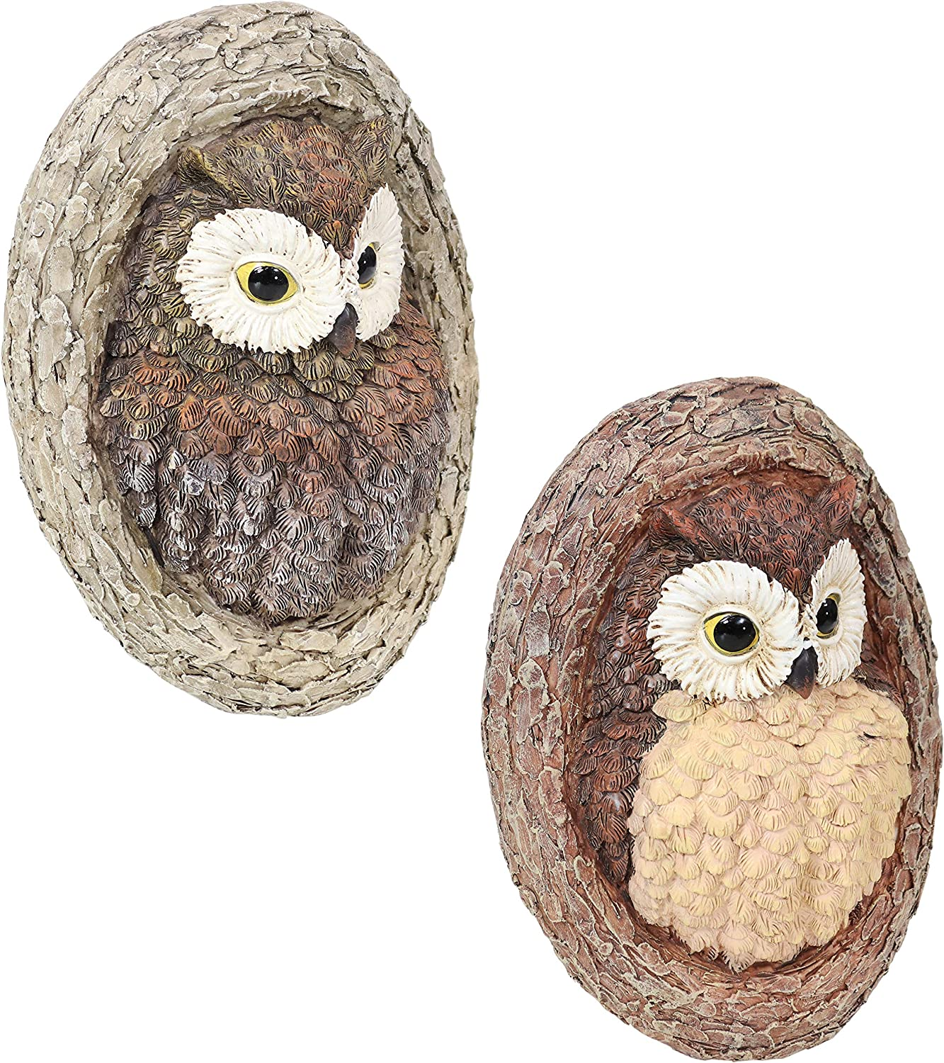 Sunnydaze Winifred and Wesley The Wise Old Owls Tree Hugger - Polyresin Outdoor Tree Decor - Garden Sculpture Decoration - Whimsical Owl Tree Face