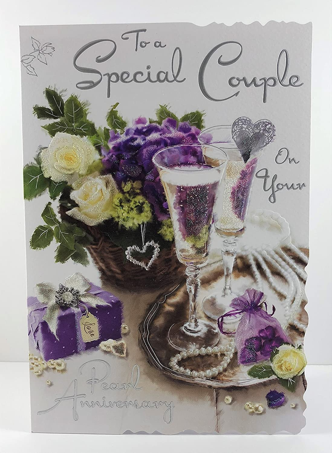 Garden Swing To Both of You Greeting Card Foil and Flittered Finish JJ3415 Anniversary