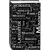 Álbum de fotos de 3 anéis com 300 bolsos para fotos 10 x 15 cm, design de palavras em preto e branco