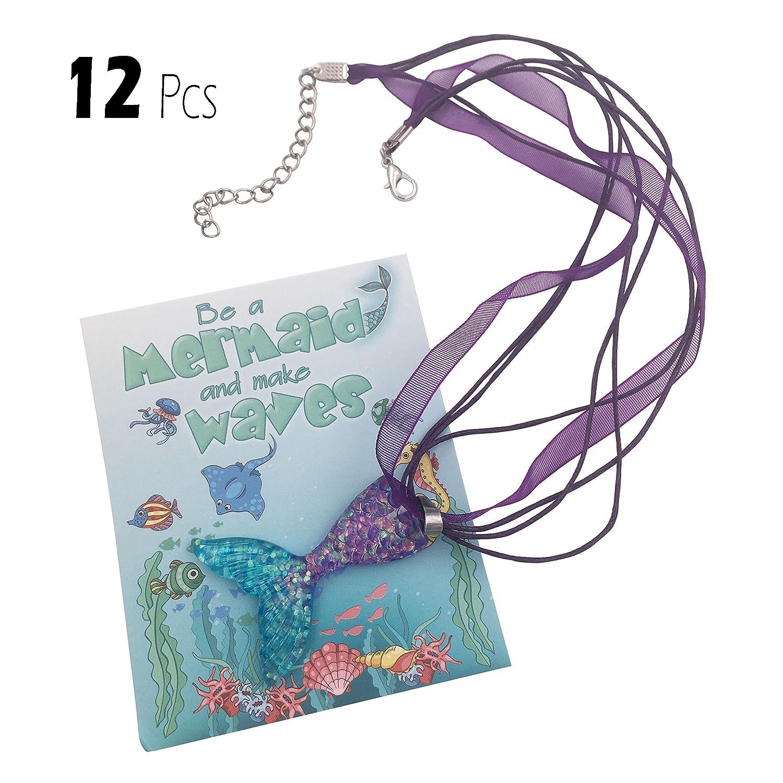 justBe Paquet de 12 Colliers Sirènes - Cadeaux Accessoires de Fête pour Filles |Emballage Individuel | Pendentifs Scintillants | Faits Main