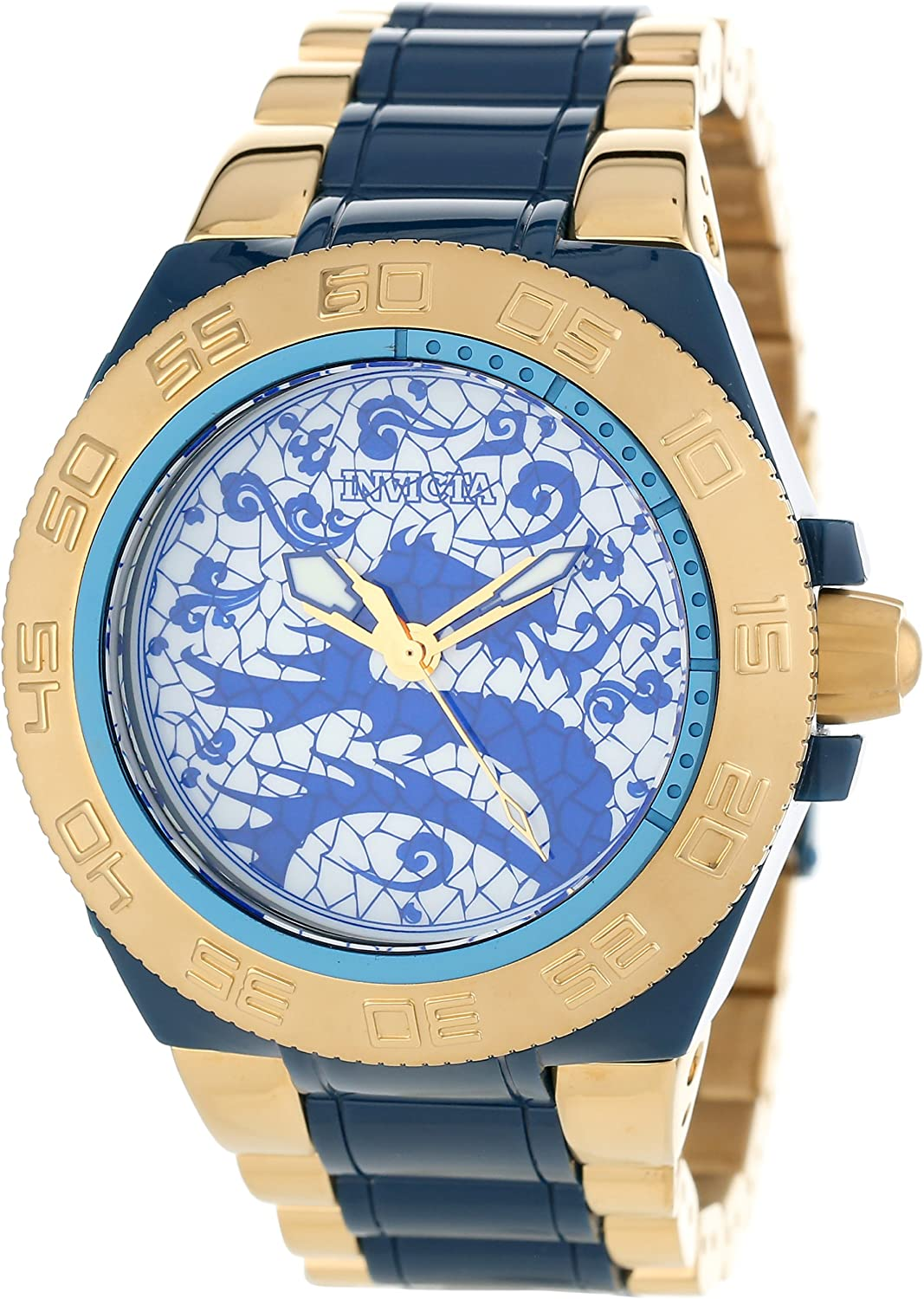 Invicta Men's 11549 Subaqua Sport Blue Dragon Dial 18k Gold Ion-Plated Stainless Steel and Blue Resin Watch