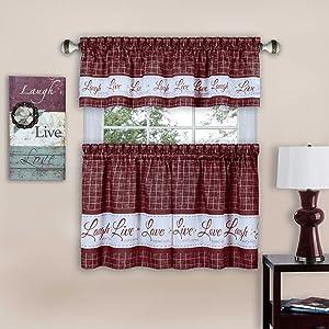 "Achim Home Furnishings Achim Home Imports Live, Love, Laugh Window Curtain Tier Pair and Valance Set, Pair & Valance 58"" x 24"", Burgundy"