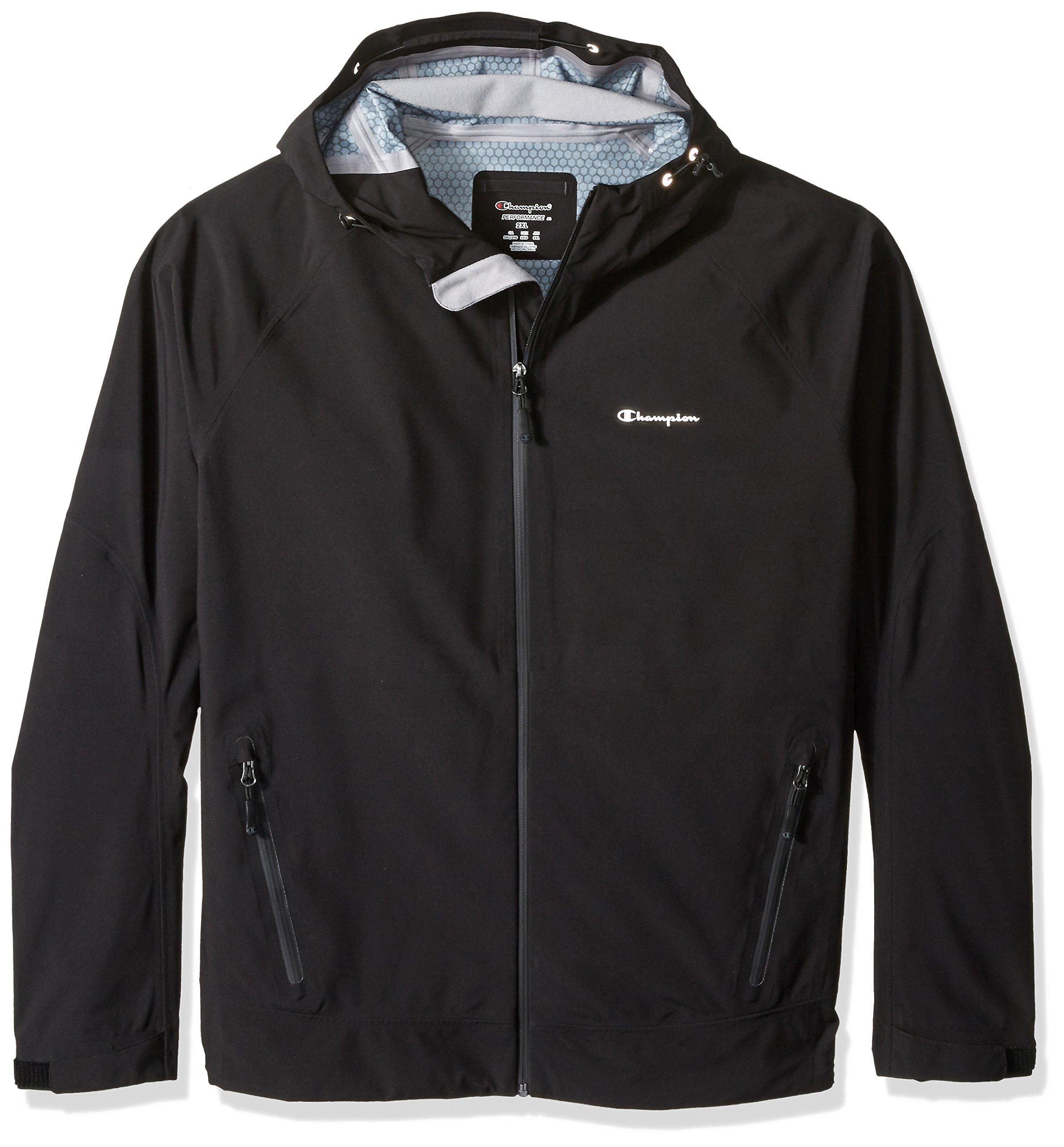 Champion Men's Stretch Waterproof Rain Jacket-Big Sizes, Black, 4X-Large