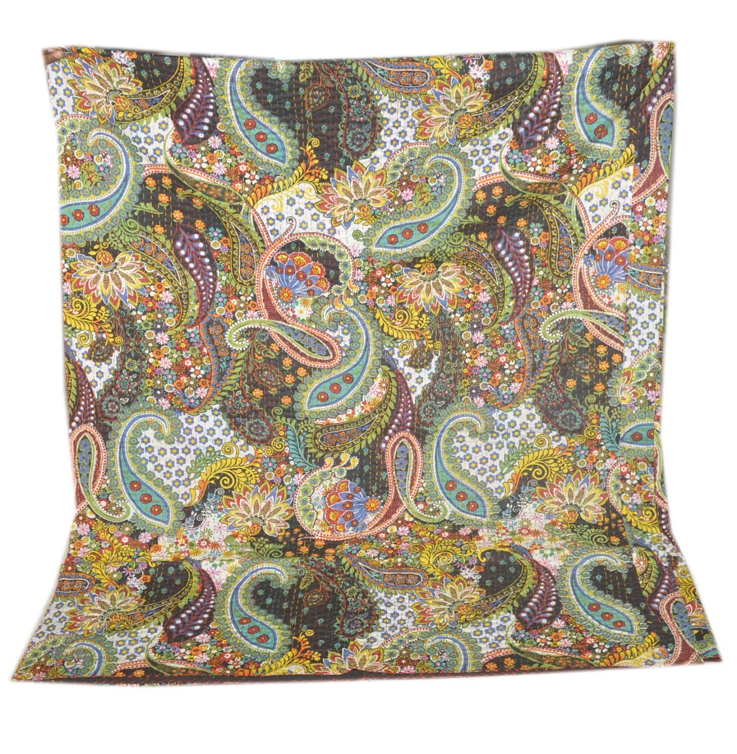 Tribal Asian Textiles Queen Kantha Quilt In Black paisley, Kantha Blanket Bedding Bedspread Throw by Tribal Asian Textiles (Image #2)