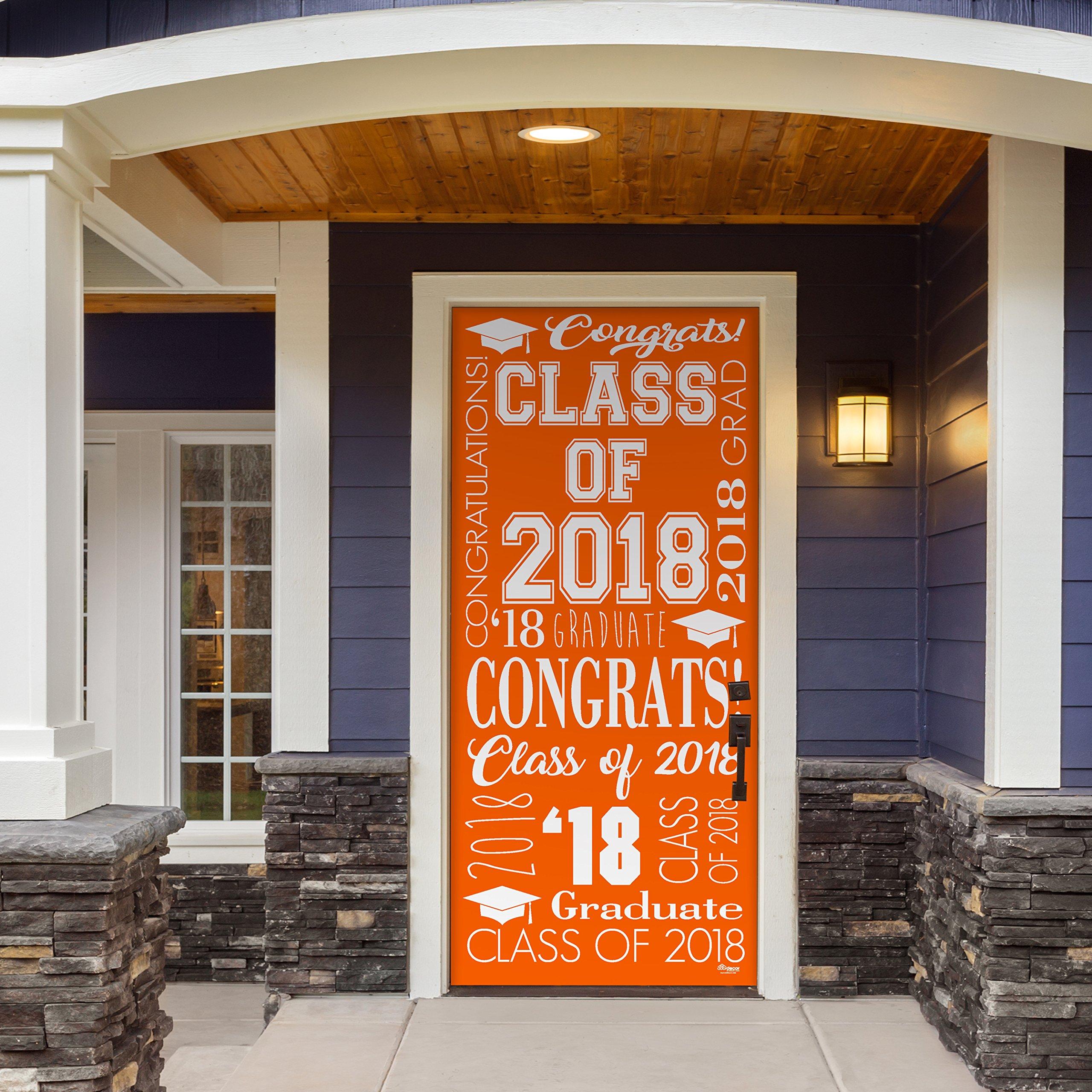Victory Corps Collage Orange - Outdoor GRADUATION Garage Door Banner Mural Sign Décor 36'' x 80'' One Size Fits All Front Door Car Garage -The Original Holiday Front Door Banner Decor