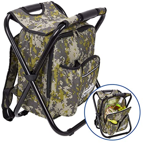Costumes & Accessories Outdoor Folding Stool Portable Backpack Chair Stool With Insulated Cooler Bag For Camping Fishing Hiking Beach Making Things Convenient For The People