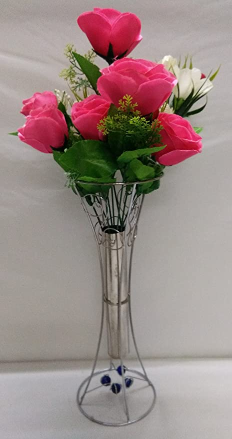 Buy Ethnic Karigari Metal Flower Vase With Artificial Pink Roses And