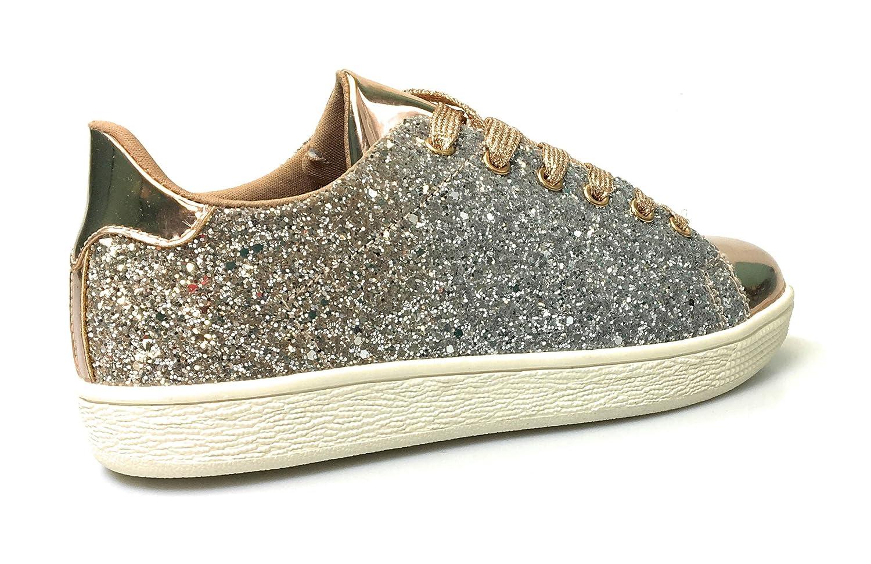 Forever Link Womens Glitter Fashion Sneakers 6.5, Rose Glitter-1