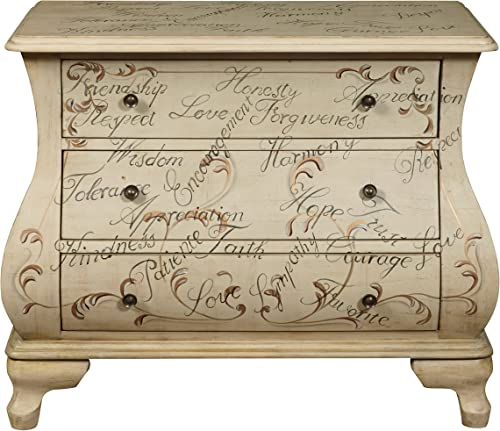 Pulaski Words of Encouragement Hand Painted Bombay Chest, Antique White
