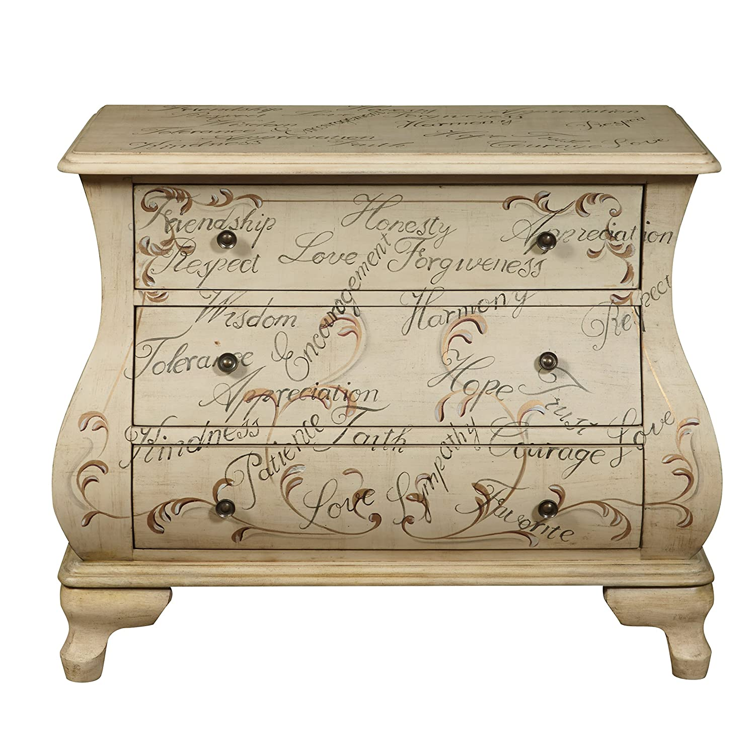 Amazon.com: Pulaski DS P017037 Words Of Encouragement Hand Painted Bombay  Chest, Antique White: Kitchen U0026 Dining