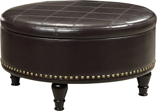 OSP Home Furnishings Augusta Eco Leather Round Storage Ottoman