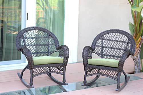 Jeco Wicker Rocker Chair with Green Cushion, Set of 2, Espresso