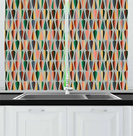 Ambesonne Mid Century Kitchen Curtains Simple 2 Colored Drop Shapes Abstract Symmetrical Grid Greyscale Background Window Drapes 2 Panel Set For Kitchen Cafe Decor 55 X 39 Multicolor Home Kitchen