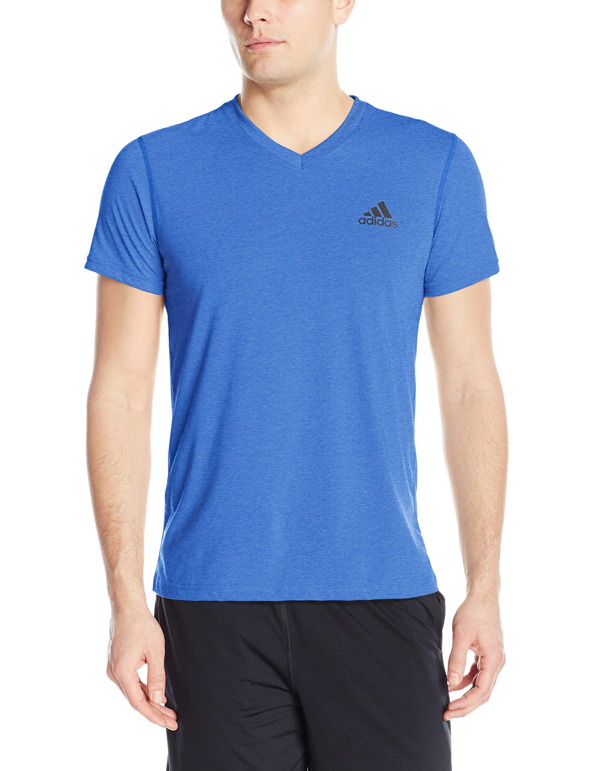 adidas Men's Training Ultimate Short Sleeve V-Neck Tee, Collegiate Royal/Collegiate Royal, Medium