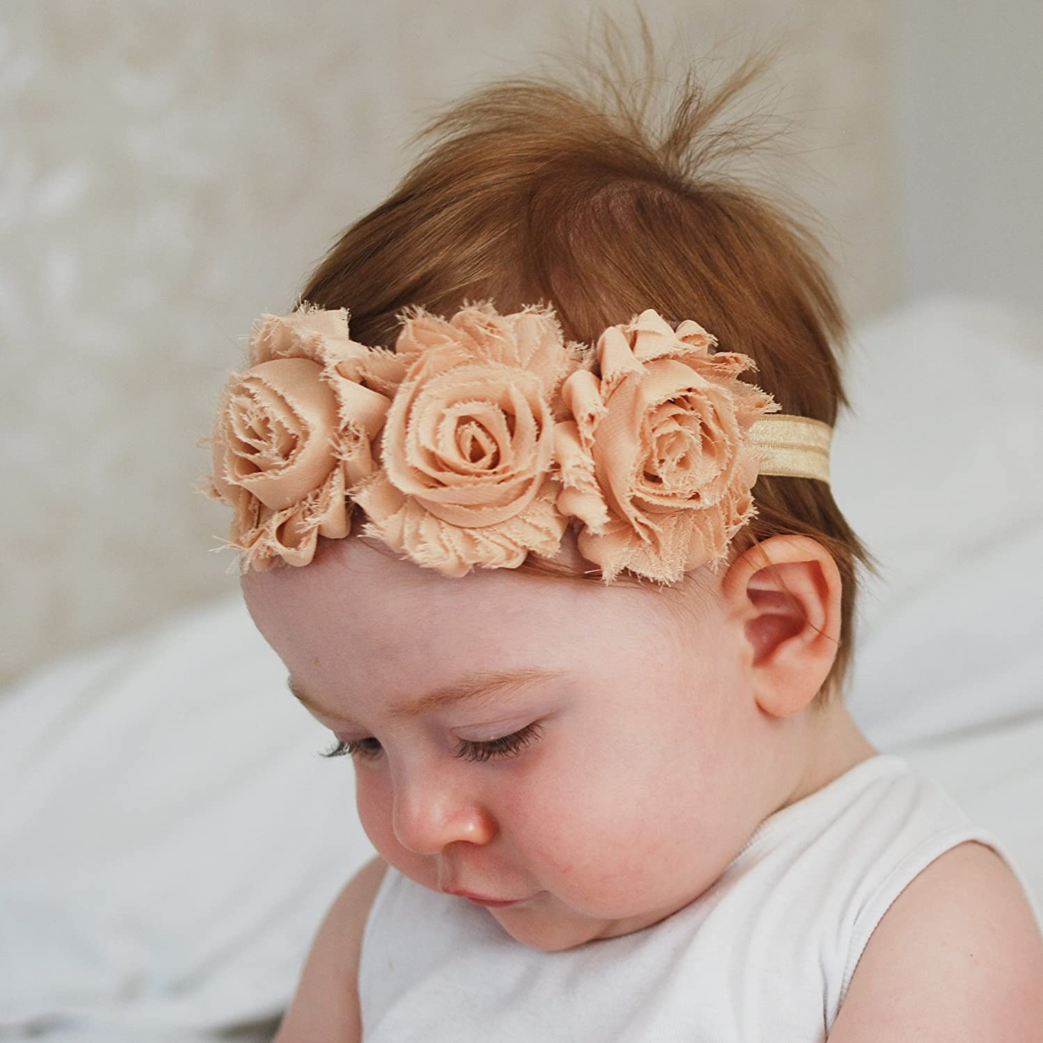 Peach and Ivory QueenMee Christening Headbands for Baby Girl Ivory Peach Baby Christening Headband Set Baby Baptism Headband Set Christening Hairband Hair Band Christening Hair Accessories Baby Headbands With Flowers