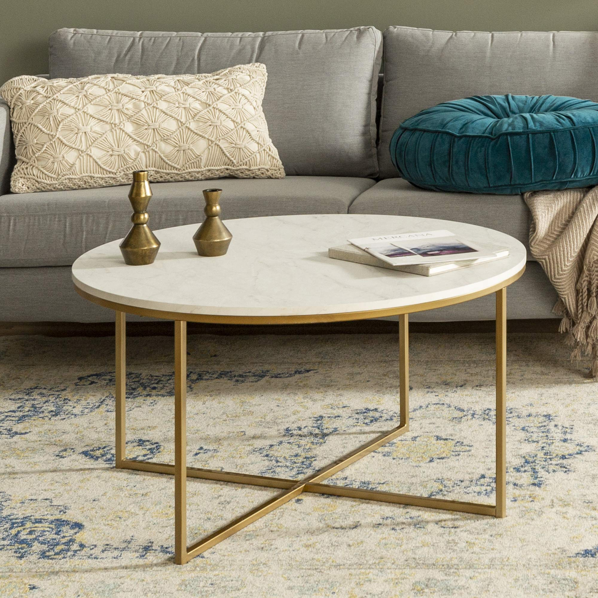 WE Furniture AZF36ALCTMGD Modern Round Coffee Accent Table Living Room, 36 Inch, White Marble, Gold by WE Furniture