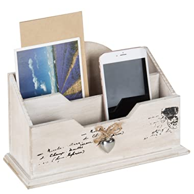 MyGift Whitewashed Wood Mail Sorter, Rustic 2 Compartment Letter Organizer