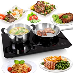 NutriChef PKSTIND48 Dual Electric Induction Cooker Cooktop Cooktop-120V Portable Digital Countertop Double Burner w/Kids Safety Lock-Works with Stainless Steel Pan &, Ceramic Glass 1800 Watt x 2