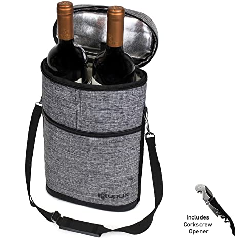 9559b3fc6299 Premium Insulated 2 Bottle Wine Carrier | Wine Tote Bag with Shoulder Strap  and Corkscrew Opener | Padded Wine Cooler Carrying Bag for Travel -HGray