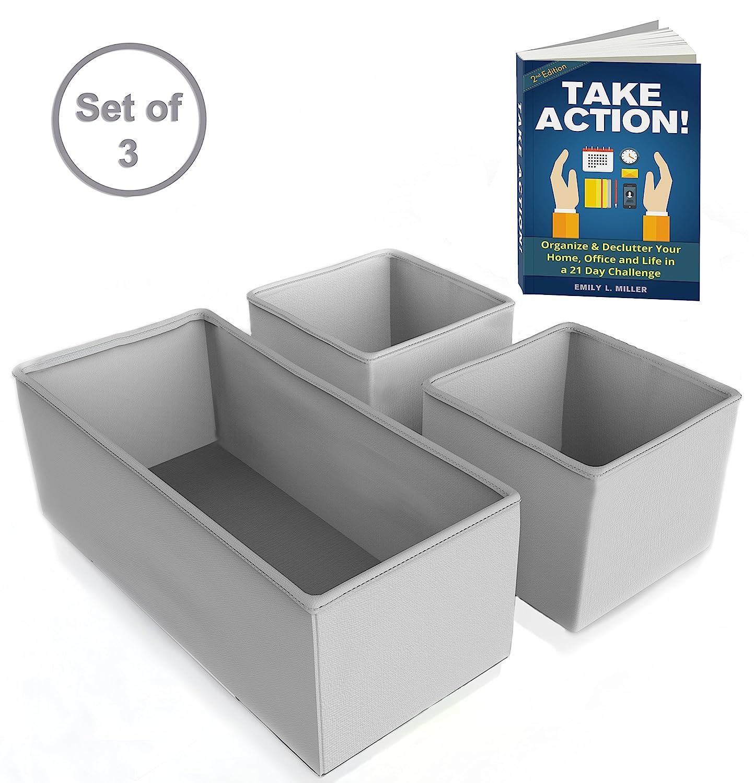 Amazon: Draweranizer  Foldable Fabric Storage Bins 3 Set (gray)   Ebook Included  100% Clutter Free  Great Baby Closetanizer,