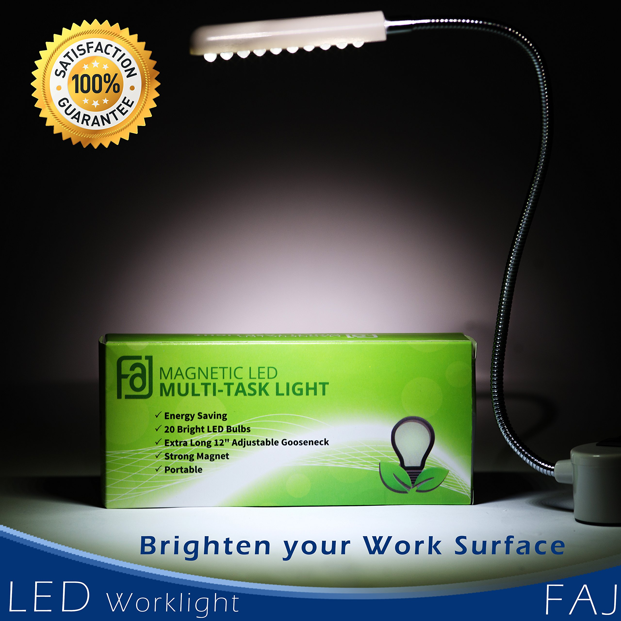 FAJ Magnetic 12-Inches Extra Long Flexible Gooseneck Arm Multifunctional Worklight, Bright Daylight LEDs Sewing Machines, Lathes, Drill Presses, Workbenches, Music Stands (30 led) by FAJ (Image #8)