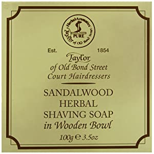 Taylor of Old Bond Street 100g Luxury Wooden Bowl Sandalwood Herbal Shaving Soap