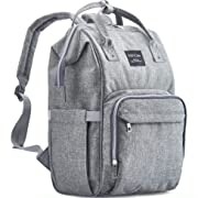 Diaper Bag Backpack, KiddyCare Multi-Function Baby Bag, Maternity Nappy Bags for Travel, Large Capacity Waterproof, Durable and Stylish for mom & dad, Gray