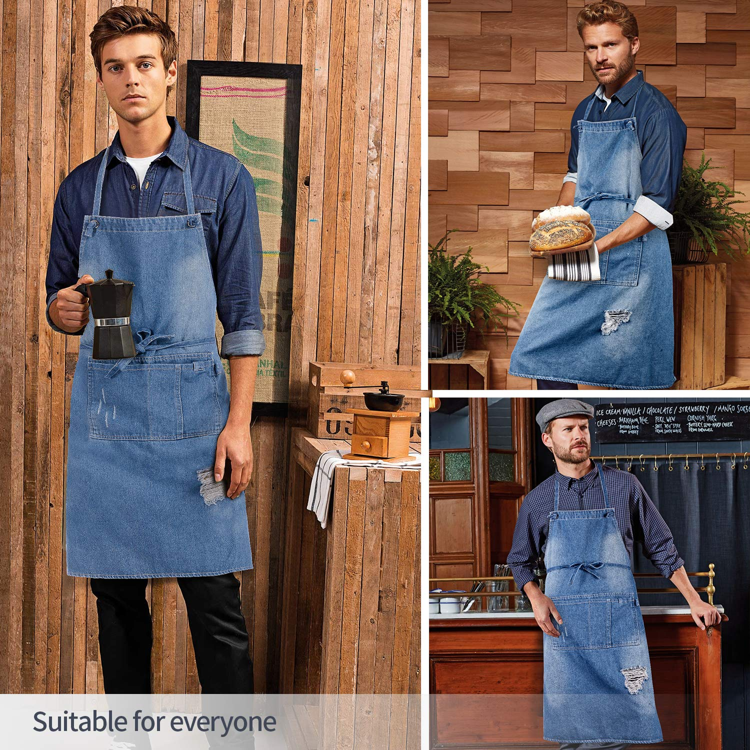 icaYre - Jeans Bib Aprons, 100% Cotton Apron with Pockets for Men and Women
