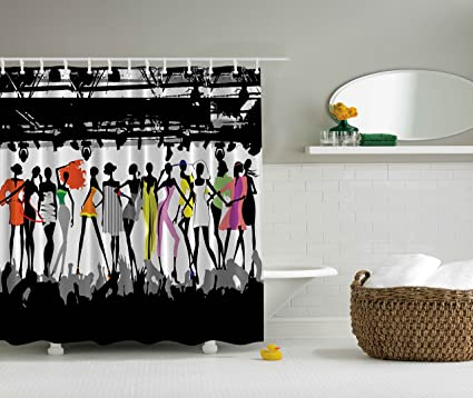 Funny Shower Curtain Feminine Decor By Ambesonne, Modern Colorful Fashion  Show Bodycon Runway Stage Lights