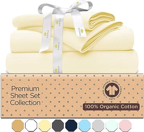 Queen Sheet Set GOTS Organic natural OEKO-TEX certified 300 Thread Count natural