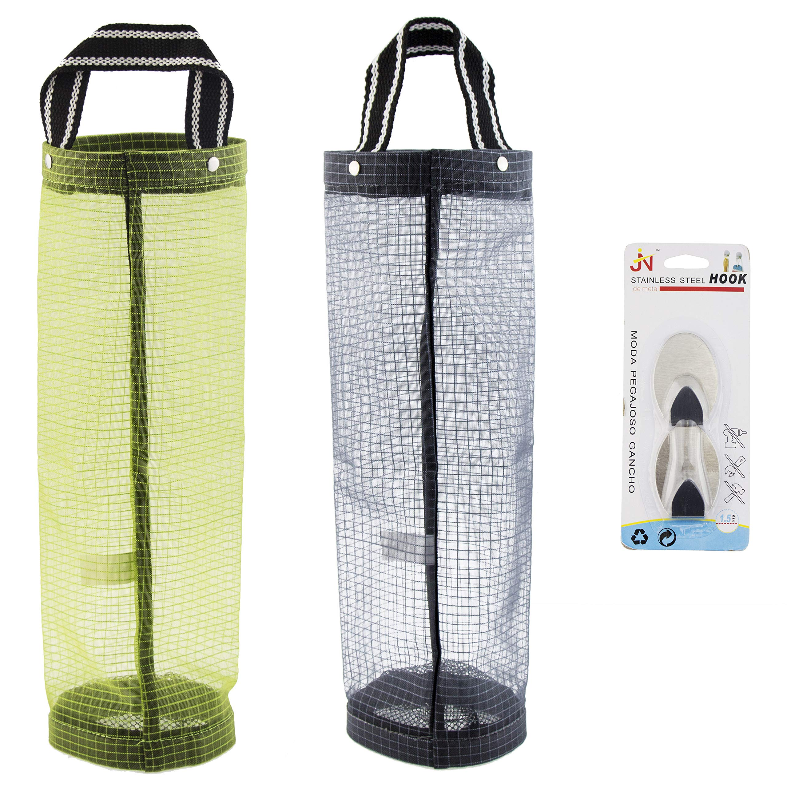 Plastic Bag Holder Dispensers 2pcs Folding Mesh Garbage Bags Hanging Storage Bag Trash bags Holder Organizer Recycling Grocery Pocket Containers with 2 Hooks for Home and Kitchen Grey & Green