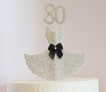 80 Geburtstag Kuchen Dekoration Silber Kleid Mit Mit Kristall