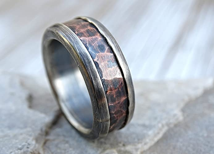 forging forged bark silver shop rings wedding oxidation