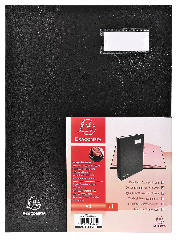 Exacompta 24161E Parapheur 16 Compartiments Couverture en Carton Plastifi/é Noir