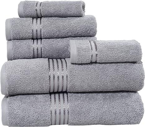 Lavish Home 100 Cotton Hotel 6 Piece Towel Set Silver Home Kitchen