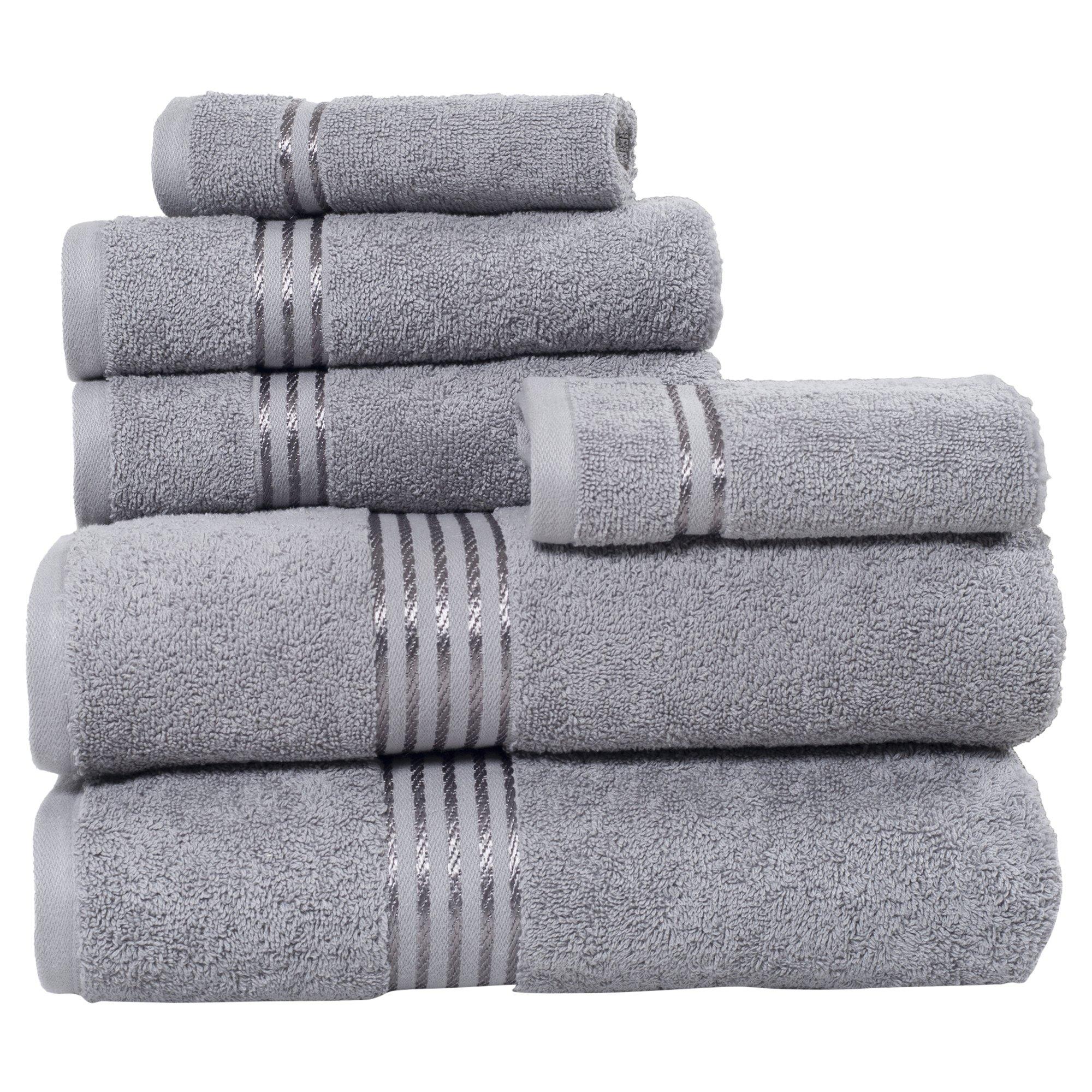 Lavish Home 100% Cotton Hotel 6 Piece Towel Set - Silver